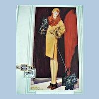 Fantastic 1931 Chevrolet / Fisher Body Lady Flapper / Scotty Scottish Terrier Dog Advertising Calendar by Artist McClelland Barclay