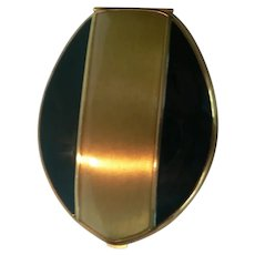1930's Elgin American Compact Black Enamel & Gold  Art Deco Excellent Beauty