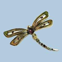 Vintage Monet Dragonfly Rhinestone & Enamel Pin Brooch