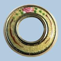 Circa 1930s-40s Vintage GUILLOCHE Enamel W / Rose Friendship CIRCLE PIN!