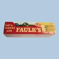 Early 1960s Faulk's WA 33 Duck Call Wood in Unopened Original Box