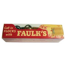 Early 1960s Faulk's WA 33 Duck Call Wood in Unopened Original Box