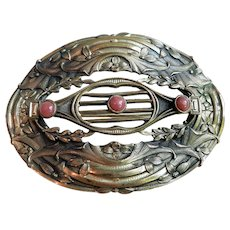 1890's Victorian Art Nouveau Sash Pin Gold Fill Brooch with Primrose / Vines / Rose Quartz Cabochons