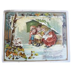 Circa 1890 SET OF 4 Victorian Woolen Spice Lion Coffee Christmas Chromo-Litho Advertising Trade Picture Cards