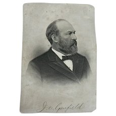 Stippled Etching of President James Garfield, by H. B. Hall Jr