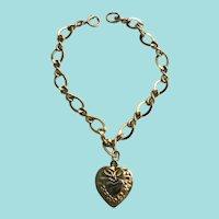 Vintage Stamped 120/ 12K Gold Fill Charm Bracelet w./ Puffy Heart Charm