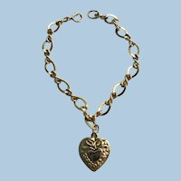 Vintage Stamped 120/ 12K Gold Fill Charm Bracelet w./ Puffy Heart Charm
