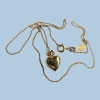 Vintage Sarah Coventry Puffy Heart Pendant Necklace