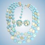 1950's Glass & Plastic Mottled &  Sky Blue Necklace & Earring Set JAPAN