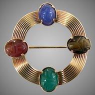 Vintage Scarab Beetle Pin 4 Simi Precious Stones Signed AMCO 14K GF