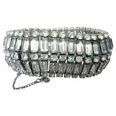 Vintage 5 Row Crystal Baguette Rhinestone Deco Wide Bracelet w. Rhodium Back