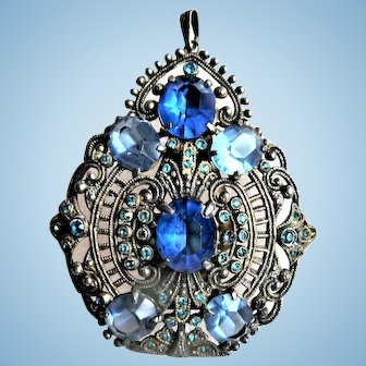 Edwardian Era Convertible Pendant / Dress Clip Filigree with Blue Rhinestones
