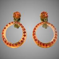 1960's Vintage Lucite & Bittersweet Rhinestone Paved Hoop Dangle Clip Earrings