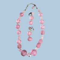 Pink Perfection! Lucite Melon Bead & Glass AB Necklace & Earring Set