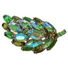 Vintage Juliana D & E Aurora Borealis Rhinestone Leaf Pin