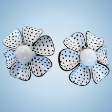 1960's Flower Power Enamel Polk-A-Dot Vintage Clip Earrings