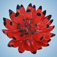 1960's Flower Power Large Enamel Red & Black Layered Mum
