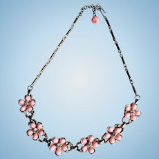 Vintage Pink Thermoplastic & Rhinestone Flower Necklace 1960's