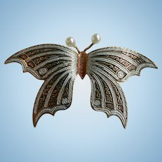 Spectacular Damascene & Faux Pearl Butterfly Dimensional Pin from Spain