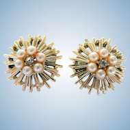 Vintage Coro Atomic Clip Earrings w/ Rhinestones & Faux Pearls Signed