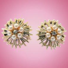 Vintage Coro Atomic Clip Earrings w/ Rhinestones & Faux Pearls Signed
