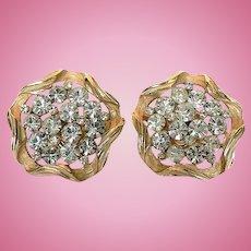 1960's Sparkly Crown Trifari Rhinestone Sculpted Clip Earrings