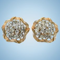 1960's Sparkly Crown Trifari Rhinestone Sculpted Clip Earrings