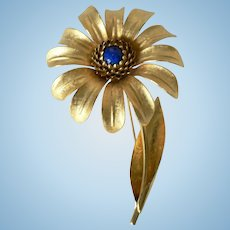 Spectacular Sunflower Daisy Pin Brooch w/ Center Lapis Lazuli Bead