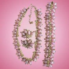 Boucher Marboux Lilac Thermoset & AB Rhinestone Parure Necklace / Bracelet / Earrings 1950's-60's