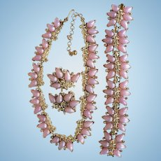 Boucher Marboux Lilac Thermoset & AB Rhinestone Parure Necklace / Bracelet / Earrings 1950's-60's