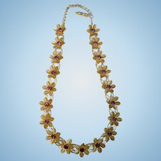 Vintage 1960's Gold-Metal Flower Necklace w/ Amethyst Colored Rhinestone Centers