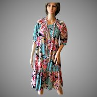 Vintage 1960's Old New Stock Hilo Hattie Hawaiian Short Muu Muu Dress Sz. Small