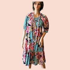 Vintage 1960's Old New Stock Hilo Hattie Hawaiian Short Muu Muu Dress Sz. Small