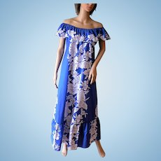 New Old Stock Vintage Hawaiian Dress by Helena's Made in Hawaii Blue/White Hibiscus Floral Sz. S