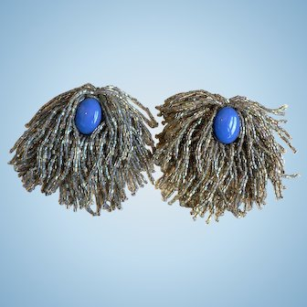 Vintage 1950's Periwinkle Blue Glass Center Stone w/  Iridescent AB Seed Bead Fringe Pins (2)