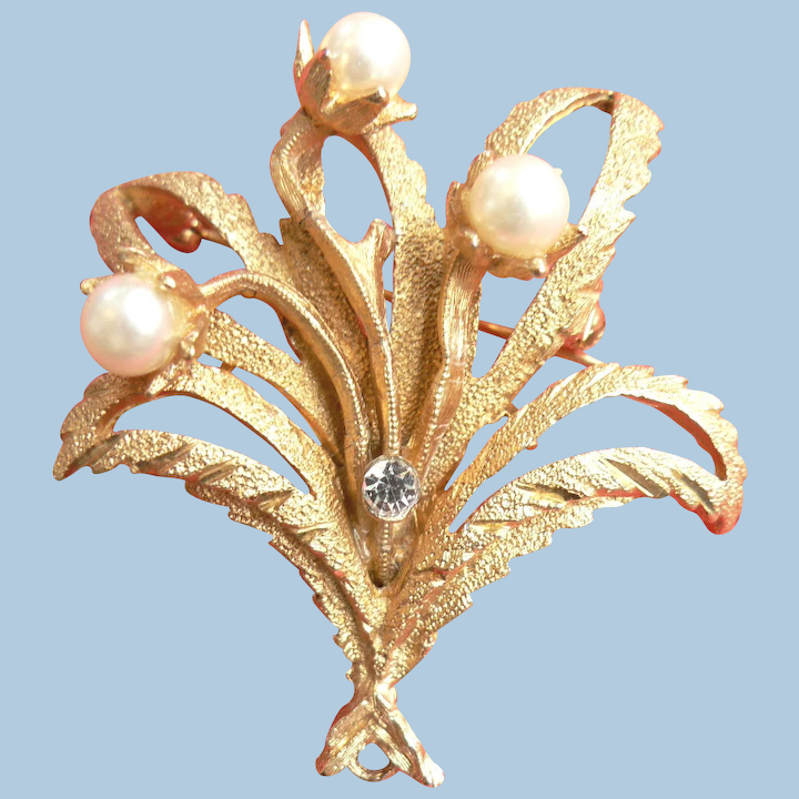 Signed Long Stem Flower Pin with Rhinestones Vintage Coro Brooch 1960s