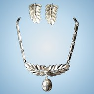 Vintage 1960's Marino Silver Metal Leaf Frond Dangle Drop choker Necklace & Earring Set
