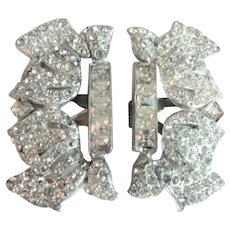 Rhodium Backed Art Deco Dress Clips White Rhinestones 1920s