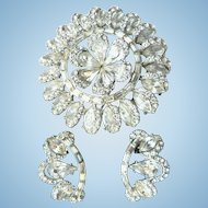 Spectacular Large Snowflake Rhinestone Pin Brooch & Earrings Rhodium Backed