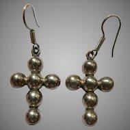 Vintage Sterling Silver Beaded Crucifix Cross Pierced Dangle Earrings