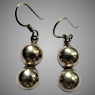 Sterling Silver Dangle Beads Vintage Mexican TV-27 Pierced Earrings