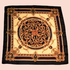 "Echo Black / Gold / Red / Cream SILK Medallion Scarf 36"" Sq."
