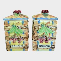 Vintage Raised Relief Ceramic Spice & Cinnamon Containers Cherries