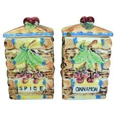 Vintage Raised Relief Ceramic Spice & Cinnamon Containers Cherries