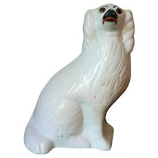 Large 1860s Staffordshire English Pearlware Spaniel Dog w. Glass Eyes
