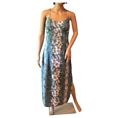 ONS Hawaiian Hibiscus Halekulani Long Dress Marine Green Sz. L