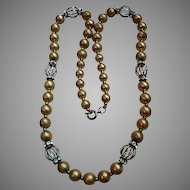 Vintage 1950's Gold Filled Bead Necklace with Crystal Rhinestone Birdcage Stations