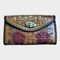 1969 Purchase Woodstock Hand Tooled Leather Clutch Purse Hippy Artist