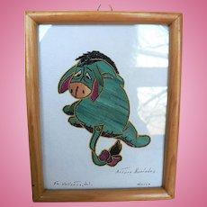 Vintage Eeyore Donkey Potilla Straw Folk Art Picture Artist Arturo Hernandez , Mexico