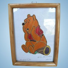 Vintage Winnie The Pooh Potilla Straw Folk Art Picture Artist Arturo Hernandez , Mexico